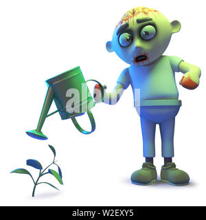 Rendered image of a silly undead zombie monster watering his undead plant, 3d illustration - Stock Photo