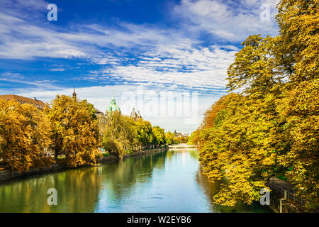 Colorful autumn landscape of Isar river in Munich, Bavaria - Stock Photo