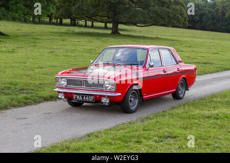 Motoring classics, historics, vintage motors and collectibles 2019; Leighton Hall transport show, collection of cars & veteran vehicles of yesteryear. - Stock Photo
