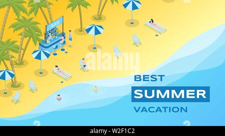 Summer vacation flat banner vector template. Summertime leisure, exotic resort, seasonal recreation poster concept. Sand beach with cocktail bar and tourists isometric illustration with typography - Stock Photo