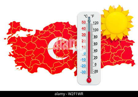 Heat in Turkey concept. 3D rendering isolated on white background - Stock Photo