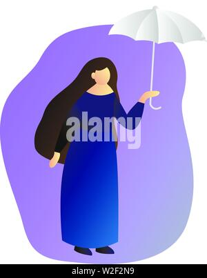 A woman in full growth standing under an umbrella. Profile of a girl. Vector flat illustration - Stock Photo