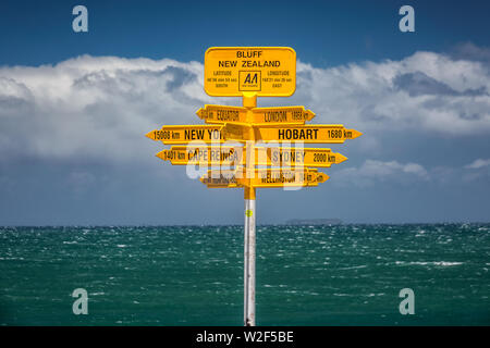The world's southernmost signpost in Bluff, South Island, New Zealand. Global signpost shows world distances measured from Bluff, tourist destination. - Stock Photo
