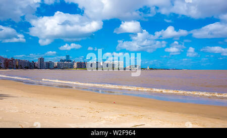 View on the Skyline and the Beach in the neighborhood of Pocitos in Montevideo, Uruguay. - Stock Photo