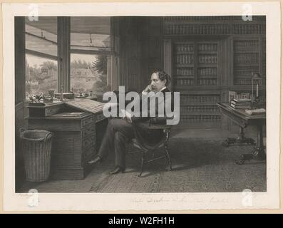 Charles Dickens in his study at Gadshill - S. Hollyer. - Stock Photo