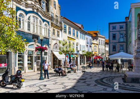 Aveiro, Portugal - June 16, 2018: City center of Aveiro, Portugal. Aveiro is popular with tourists to enjoy views of the charming canals. Aveiro, Port - Stock Photo