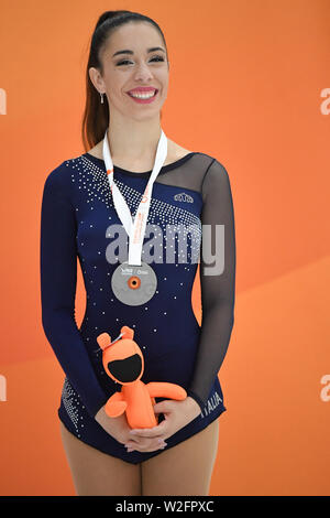 Junior Ladies Solo Dance Awards: ASYA SOFIA TESTONI from Italy 3rd place. WORLD ROLLER GAMES 2019, at Palau Sant Jordi, on 07 July, 2019 Barcelona, Spain. Credit: Raniero Corbelletti/AFLO/Alamy Live News - Stock Photo