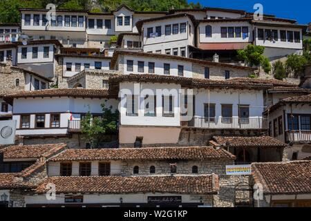 Historical houses in Mangalem, city of 1000 windows, Berat, Albania