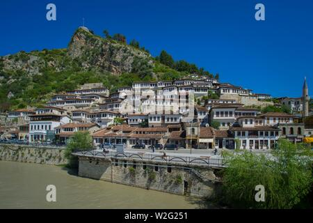 View over the river Osum to historical houses in the district Mangalem, city of 1000 windows, Berat, Albania