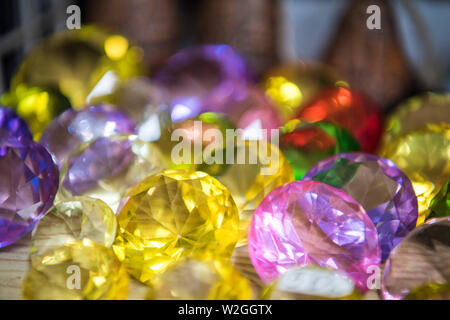 Collection of many different natural gemstones. Abstract photo of jewelry. - Stock Photo