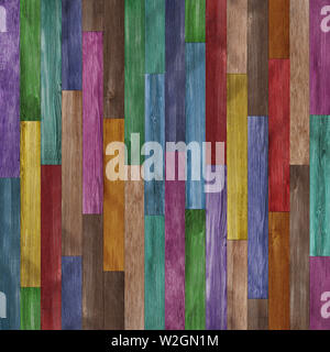 Seamless colorful painted wood texture background - Stock Photo