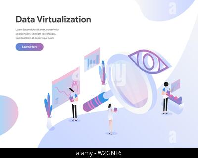 Landing page template of Data Virtualization Isometric Illustration Concept. Isometric flat design concept of web page design for website and mobile w - Stock Photo