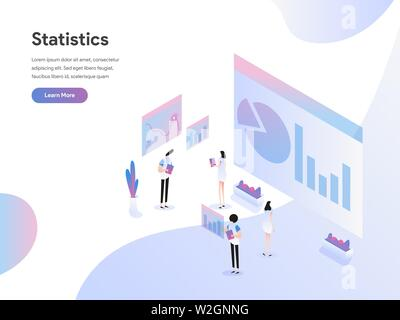 Landing page template of Data Statistics Isometric Illustration Concept. Modern Flat design concept of web page design for website and mobile website.