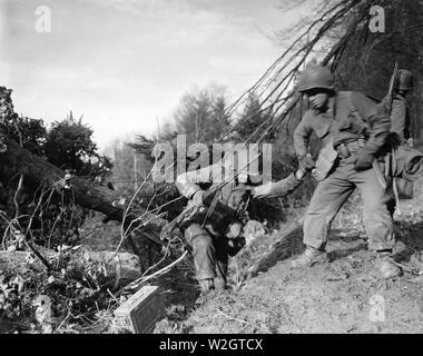 Pfc. Benny Barrow of St. Louis, Missouri gives a helping hand to a buddy as they make a difficult climb in the Hurtgen Forest, southwest of Buren, Germany, during the allied offensive. Company I, 3rd Battalion, 8th Regiment, 4th Infantry Division - Stock Photo