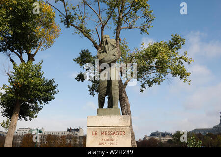 Ossip Zadkine's Le Messager (The Messenger) in Paris, France. - Stock Photo