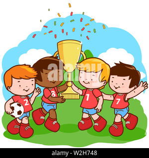 Illustration of three little soccer player winner boys cheering and holding the trophy at the football field. - Stock Photo