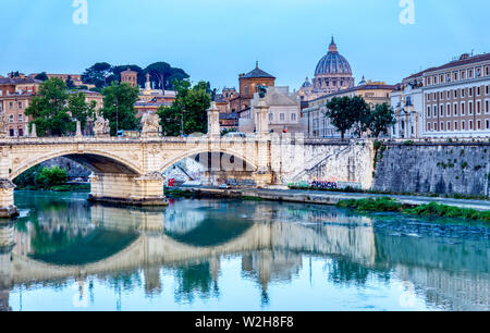 Emanuele II bridge and St. Peter's Basilica - Rome, Italy - Stock Photo