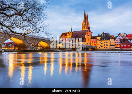 Regensburg, Germany. View from Danube on Regensburg Cathedral and Stone Bridge.