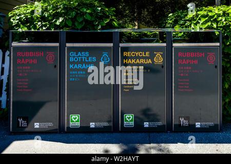 Recycling Bins, Arrowtown, Otago Region, South Island, New Zealand - Stock Photo