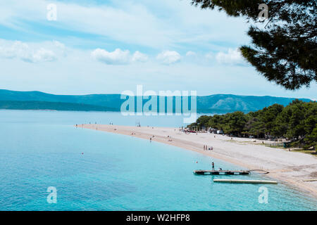 Zlatni rat, Bol, Brac, Dalmatia, Croatia - Stock Photo