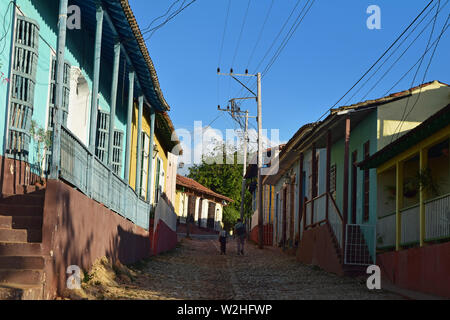 Cuba, Havana, February 16, 2018: father and son on their way home in Havana, Cuba. - Stock Photo