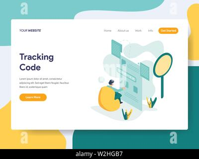 Landing page template of Tracking Code Illustration Concept. Modern flat design concept of web page design for website and mobile website.Vector illus - Stock Photo