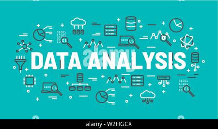 The words Data Analysis surrounded by icons of database, cloud computing, server, network icons. Vector background illustration. - Stock Photo