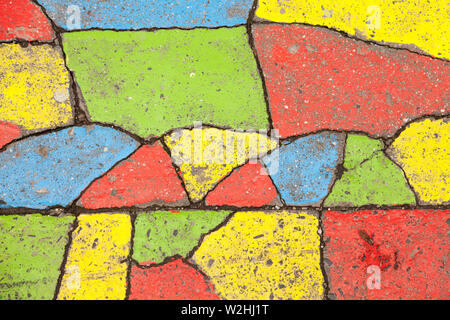 Budapest, Hungary - May 27, 2019: decorated asphalt in different colors - Stock Photo