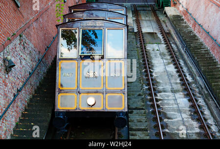 Budapest, Hungary - May 28, 2019: railroad train going up a steep mountain in Budapest - Stock Photo