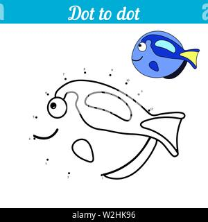 Dot to dot. Blue fish. Connect dots and color the picture. Kid game Find hidden personage. Page to be color. Educational game for children. For presch - Stock Photo