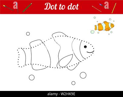 Dot to dot. Clown fish. Connect dots and color the picture. Kid game Find hidden personage. Page to be color. Educational game for children. For presc - Stock Photo