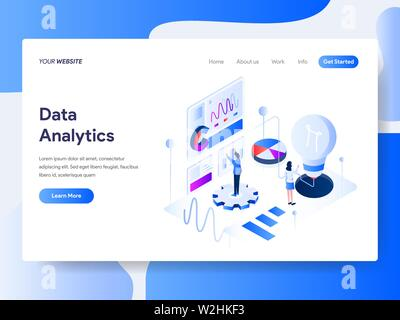 Landing page template of Data Analysis Isometric Illustration Concept. Isometric flat design concept of web page design for website and mobile website