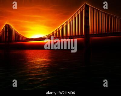 Golden Gate Bridge Painterly Illustration - Stock Photo