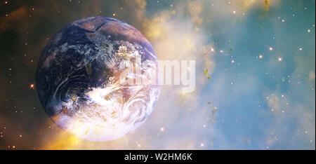 Sunrise on the Earth. Planet Earth in the sunlight. View from the space . Planets of solar system. Cosmic dust. Mixed media - Stock Photo