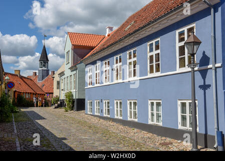 Ebeltoft, Denmark - 22 June 2019: the traditional historic village of Ebeltoft on Jutland in Denmark - Stock Photo