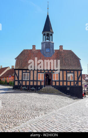 Ebeltoft, Denmark - 22 June 2019: the historic town hall of Ebeltoft on Jutland in Denmark - Stock Photo