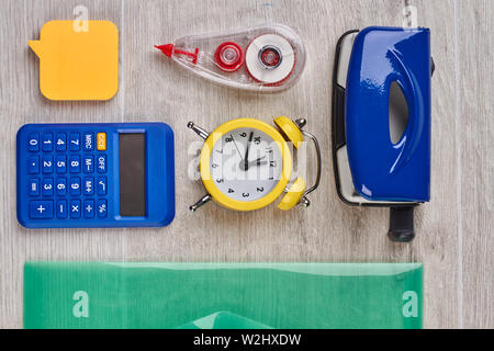 Stationery items for school or office.