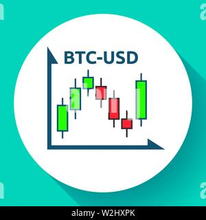 Bitcoin to dollar candlestick chart icon. Financial graph sign. Stock BTC exchange symbol. Business investment, analysis and statistics, vector - Stock Photo