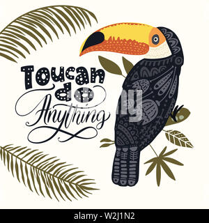 Seamless vector pattern with Tropical Bright Toucan Bird. Folk illustration in Scandinavian style. Summer tropic card. - Stock Photo