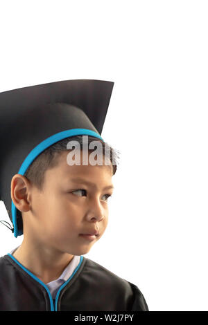 Isolated The boy graduated from kindergarten This study is the first to advance to the next level on White Background. - Stock Photo