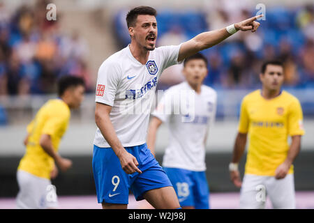 German football player Sandro Wagner of Tianjin TEDA reacts as he competes against Jiangsu Suning in their 15th round match during the 2019 Chinese Football Association Super League (CSL) in Tianjin, China, 7 July 2019. Tianjin TEDA defeated Jiangsu Suning 2-1. - Stock Photo