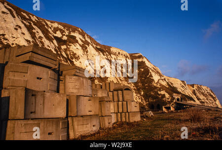 Channel Tunnel works in mid 1970's Dover-Folkestone Kent England. Shows original tunnel supports for early access tunnel below Shakespeare Cliff between Dover and Folkestone - Stock Photo