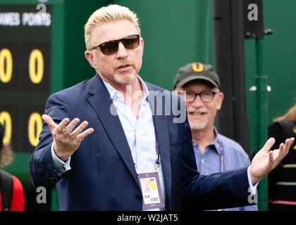London, UK. 09th July, 2019. Tennis: Grand Slam, Wimbledon. Boris Becker gestures. Credit: Frank Molter/dpa/Alamy Live News - Stock Photo