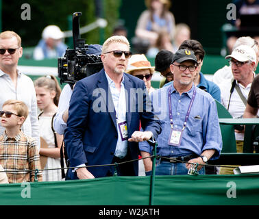 London, UK. 09th July, 2019. Tennis: Grand Slam, Wimbledon. Boris Becker is standing at a side square. Credit: Frank Molter/dpa/Alamy Live News - Stock Photo