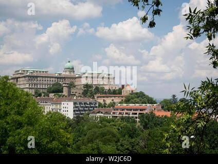 View to Buda Castle and the Hungarian National Gallery from Gellert Hill, Budapest - Stock Photo
