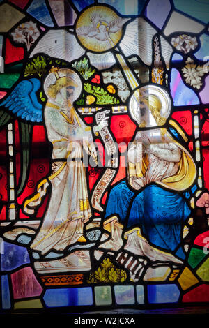 Partrishow Church stained glass window detail - Stock Photo