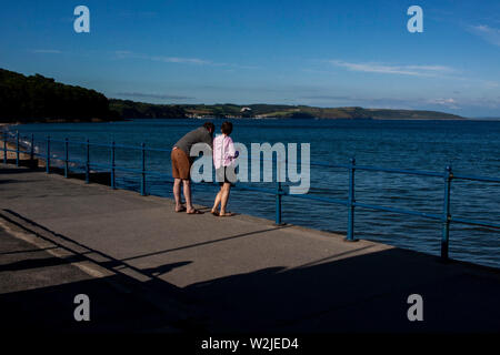 A General View of Saundersfoot Beach, Pembrokeshire, Wales. - Stock Photo