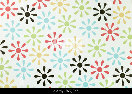 Colorful stylized flowers background representative of the 70s - Stock Photo