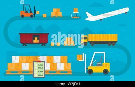 World goods export concept banner. Flat illustration of world goods export vector concept banner for web design - Stock Photo