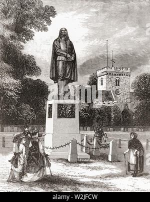 The Bunyan Monument, Bedford, Bedfordshire, England, seen here in the 19th century.  John Bunyan, 1628 – 1688.  English writer and Puritan preacher.  From English Pictures, published 1890. - Stock Photo